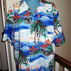 Other - Vintage Mens  Hawaiian Shirt Sail boats   Size L